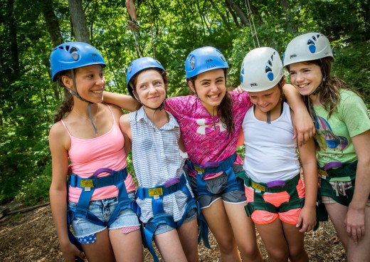 Campers on the ropes course