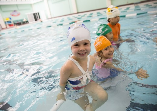 Camper swimming