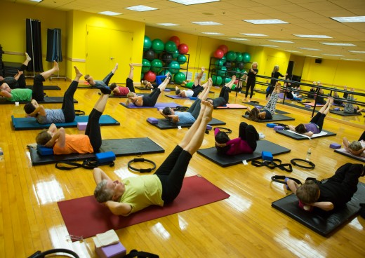 Participants in a group pilates class