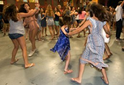Kingswood campers dancing in recreation hall