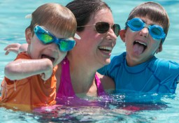 Mom with kids in pool