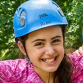Camper on the ropes course